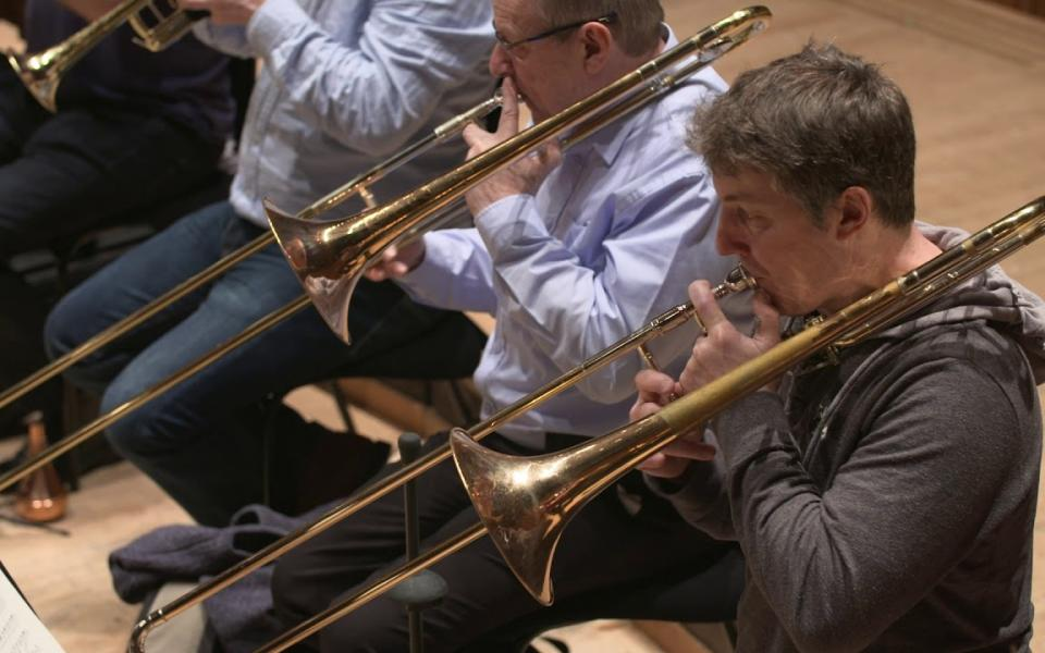 Philharmonia trombones rehearsing