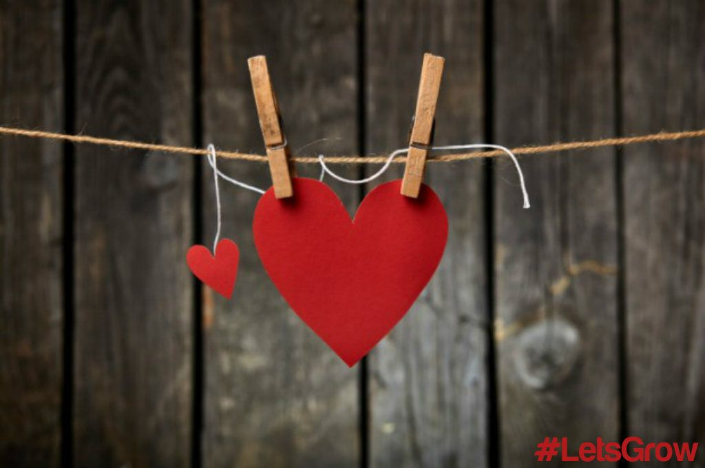 Heart on washing line with pegs