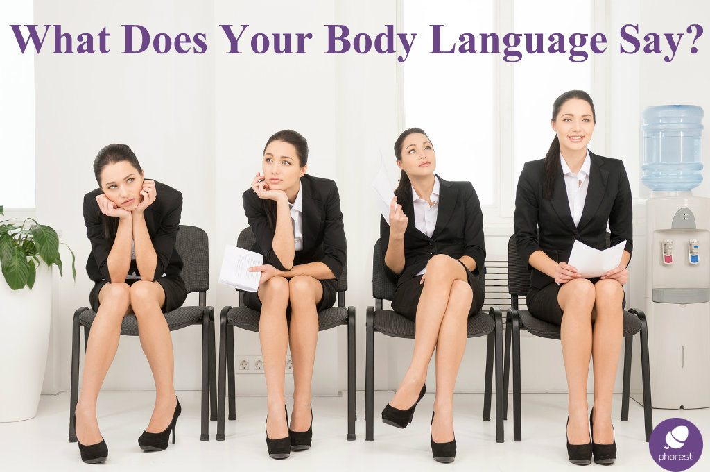 Woman in 4 poses showing different body language