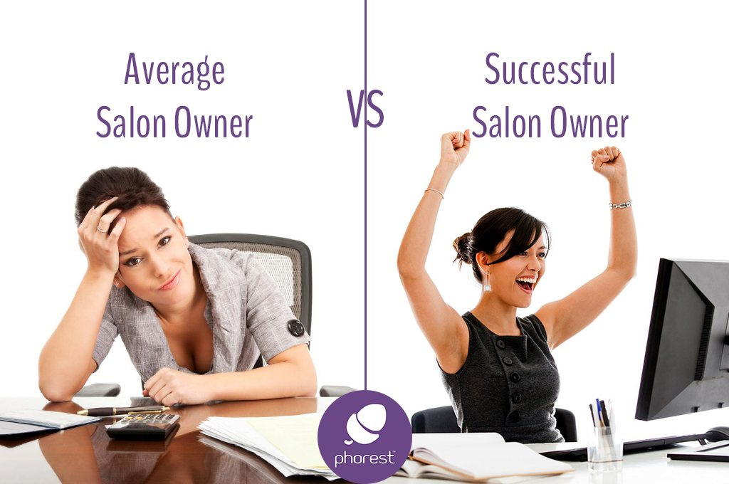 two women one is tired and overwhelmed, the other is happy and cheering. Average salon owner vs successful salon owner