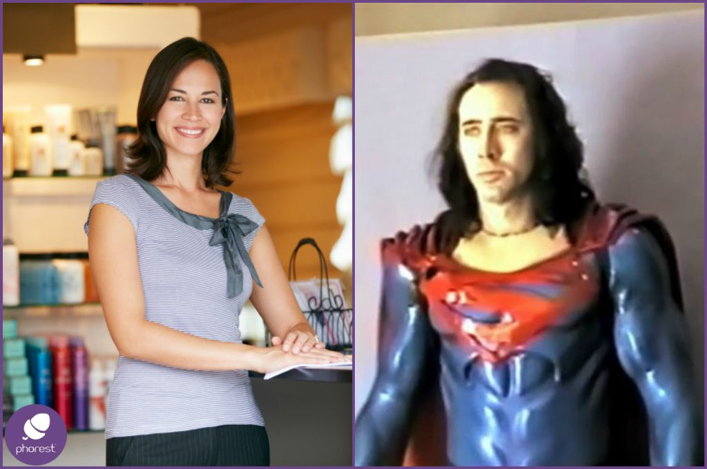 Smiling woman in a salon Nicholas Cage in a superman costume