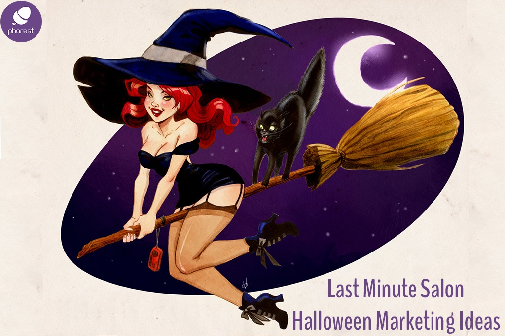 cartoon witch flying on a broom - salon marketing ideas