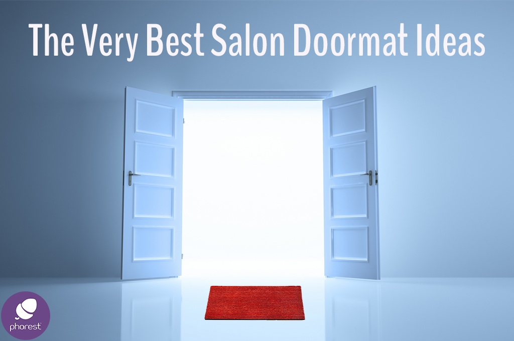 Salon door mat ideas, red doormat in front of open double doors
