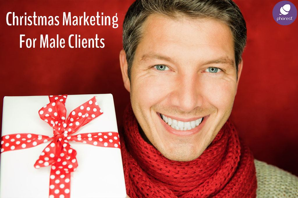 Man in a red scarf with gift - Salon marketing for male clients