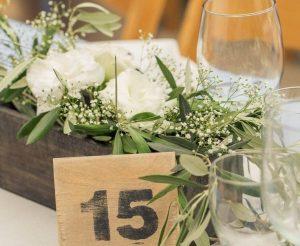 centro de mesa con número