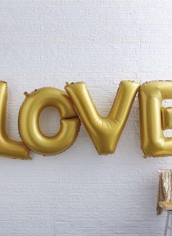globos love dorado