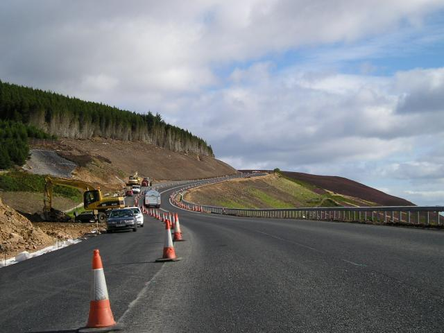 A9 roadworks, looking north.