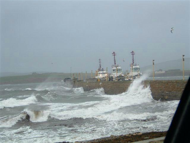 Scapa Pier in a gale