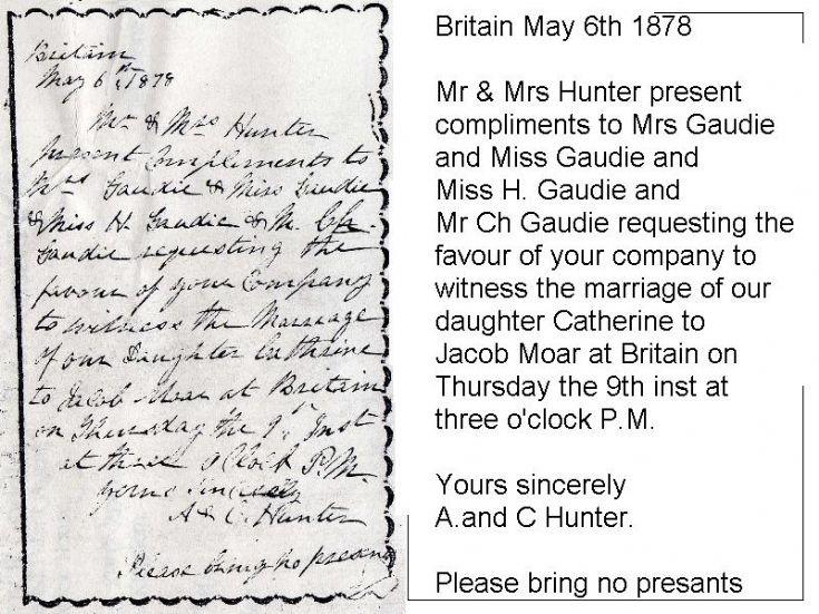 Wedding invitation 1878