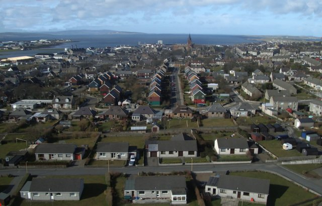 Looking north over Kirkwall, from a kite