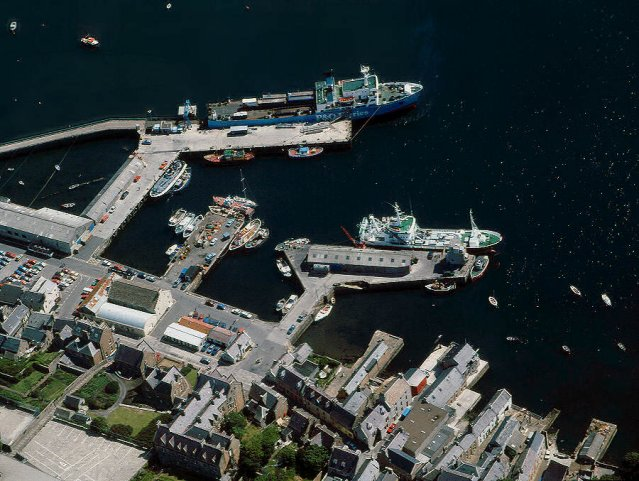 Stromness piers from the air