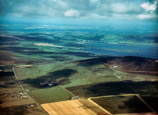 Wideford Hill and Bay of Firth from the air
