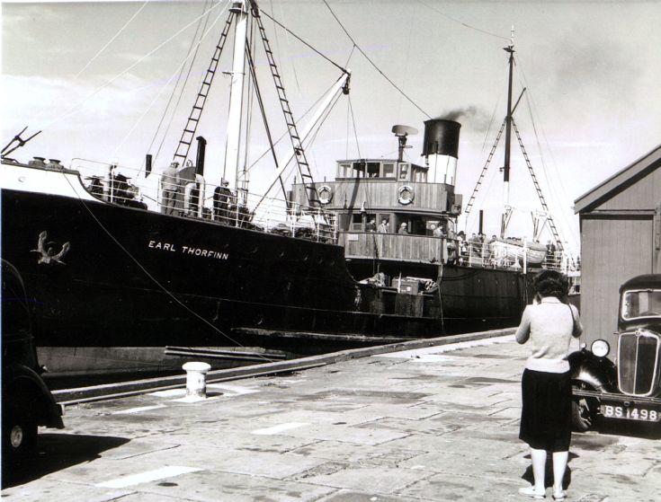 Earl Thorfinn approaching Stronsay Pier.