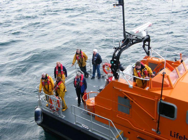 Longhope Lifeboat approaching HMS Ark Royal