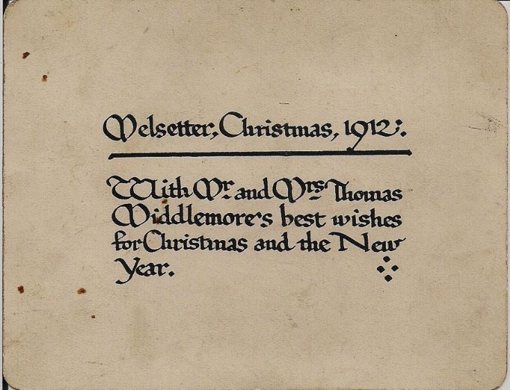 card from Melsetter estate.