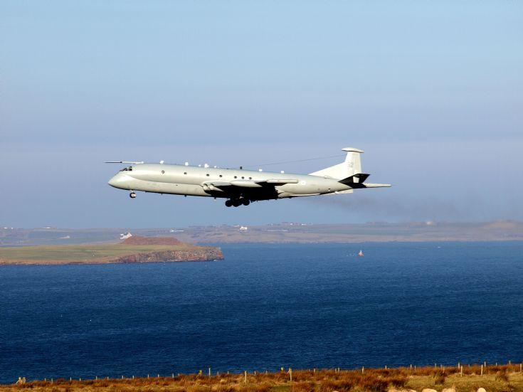 Nimrod passing Kirkwall Airport