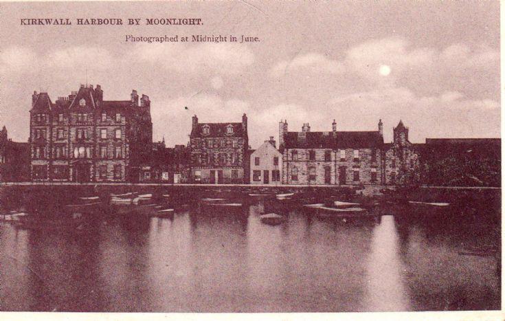 Postcard - Kirkwall Harbour by Moonlight