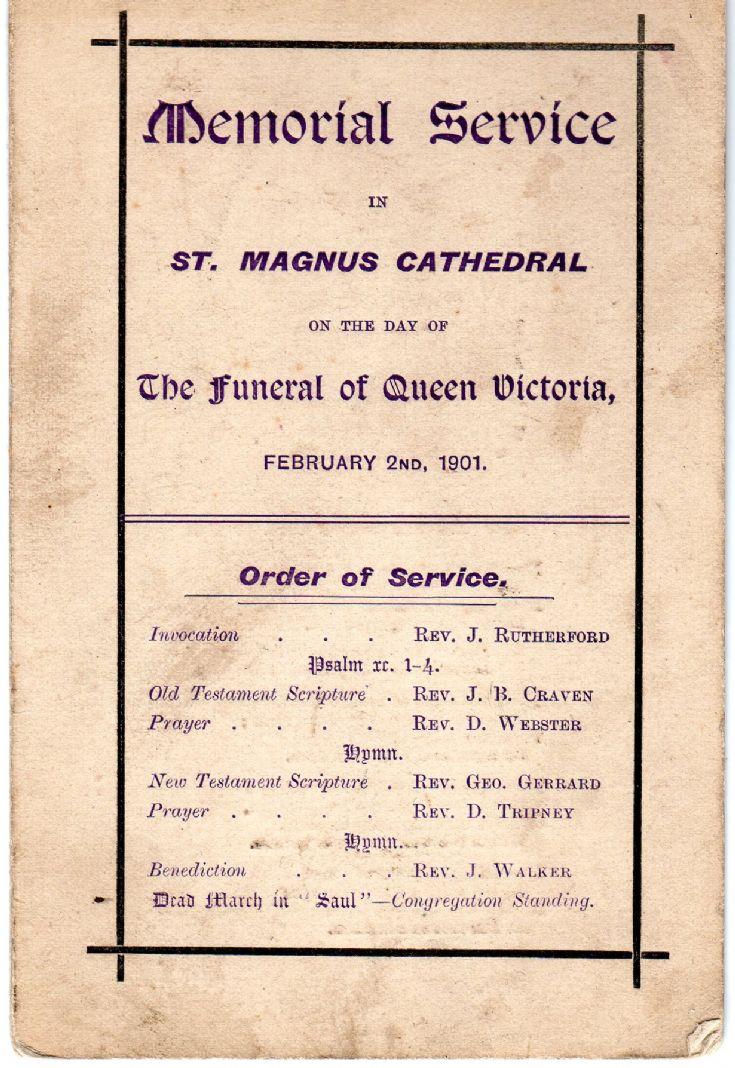 Memorial service for Queen Victoria