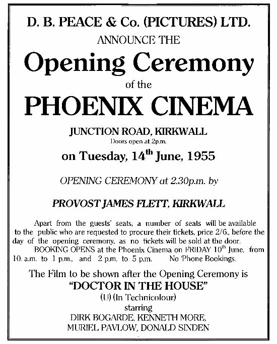Opening film at the Phoenix Cinema