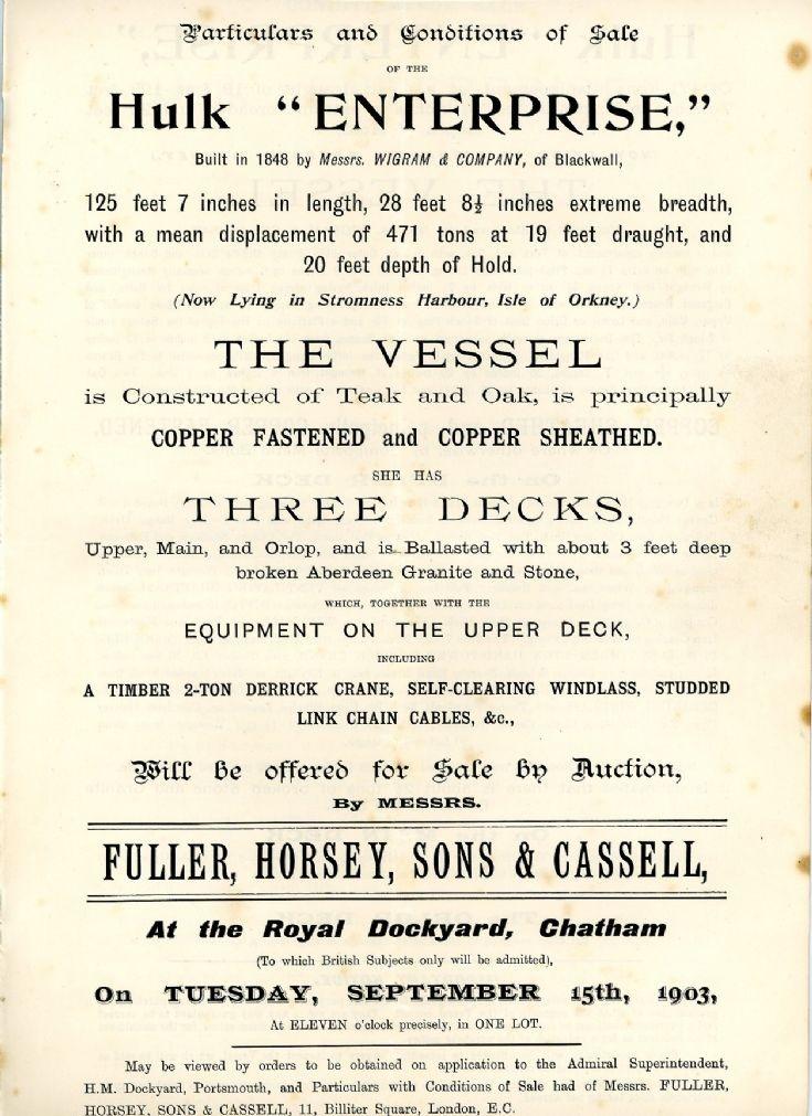 Notice of sale in 1903 of hulk 'Enterprise'