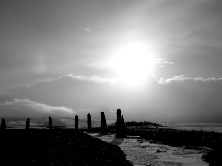 Brodgar - snow in black and white
