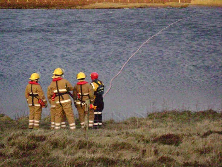Stromness firefighters on water rescue training