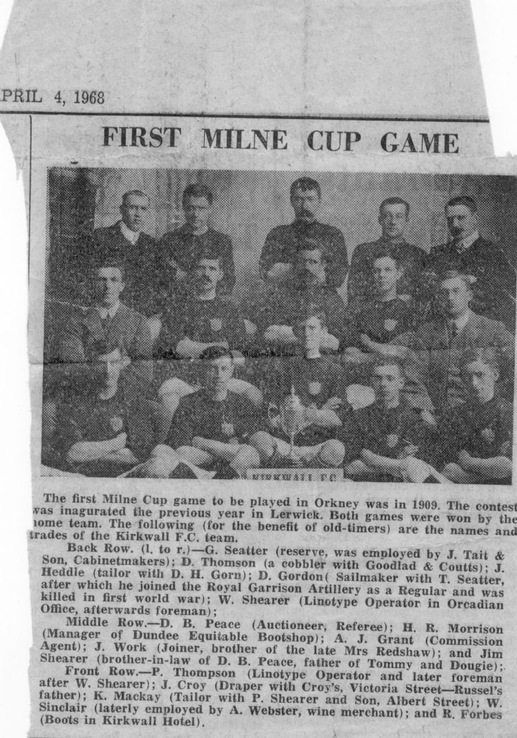 First Milne Cup game