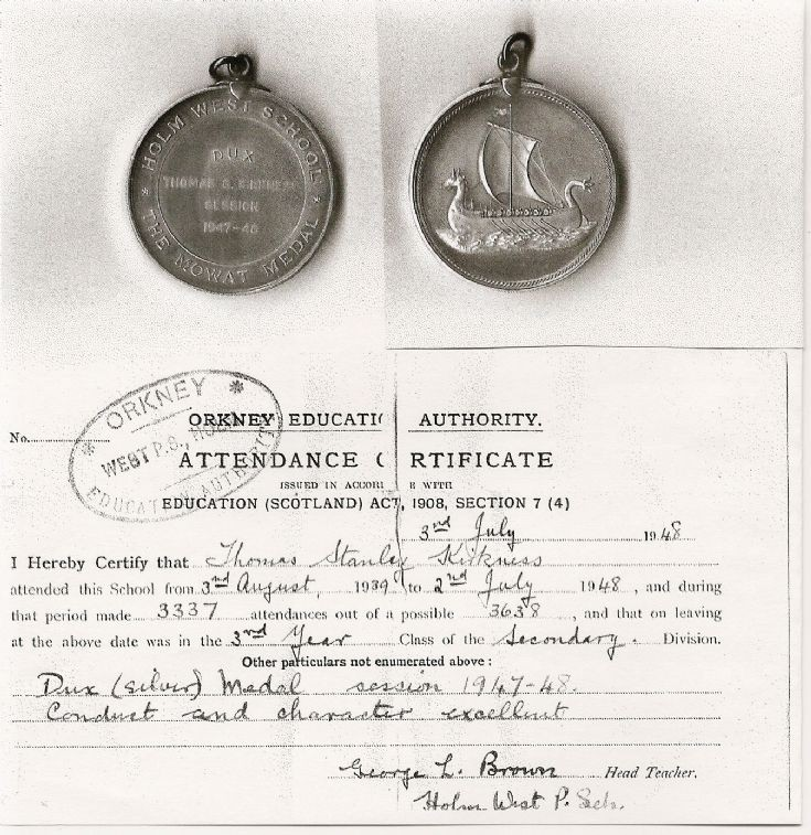 Dux Medal, Holm West School