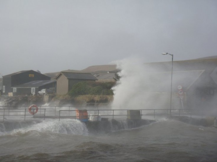 Rousay pier during a spring gale