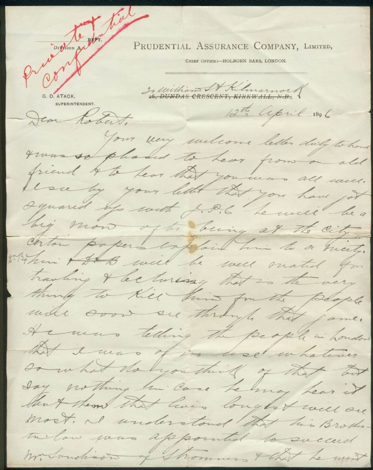 Old letter from Town Hall 1