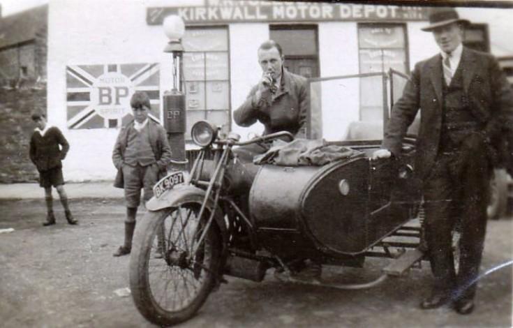 Motorbike and sidecar at Kiln Corner