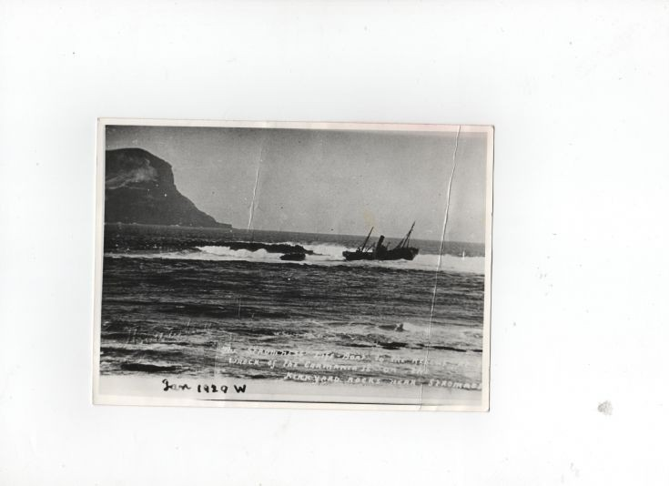 Carmania ashore on the Kirk Rocks