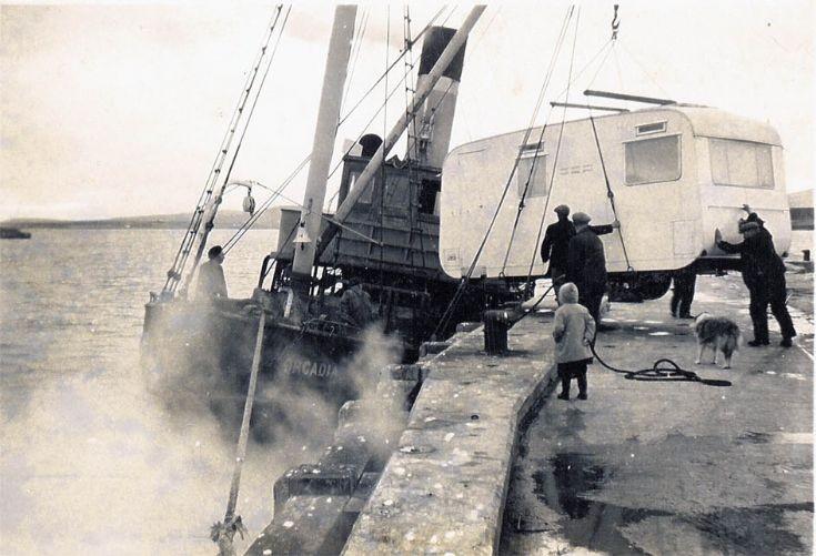 Dental caravan being loaded onto Orcadia