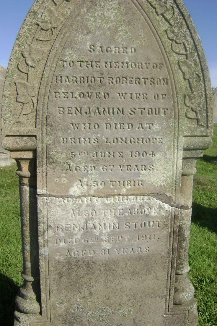 Benjie Stouts grave stone in Ousna Kirkyard