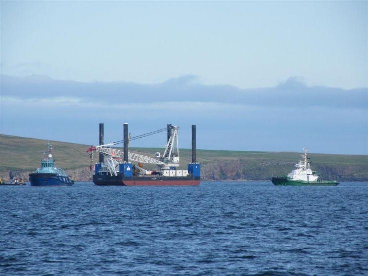 Jack up barge at Falls of Warness