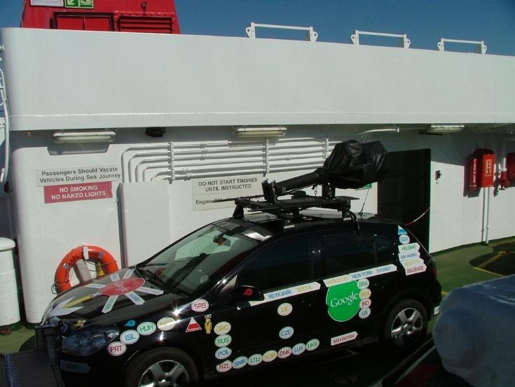 Google Street View car en route to Stronsay