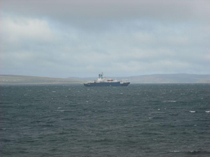 CS Sovereign at anchor in Kirkwall bay