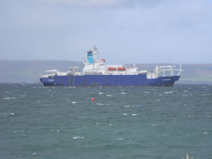 CS Sovereign moored in the Bay