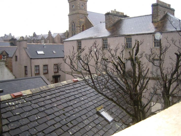 Across the Stromness rooftops