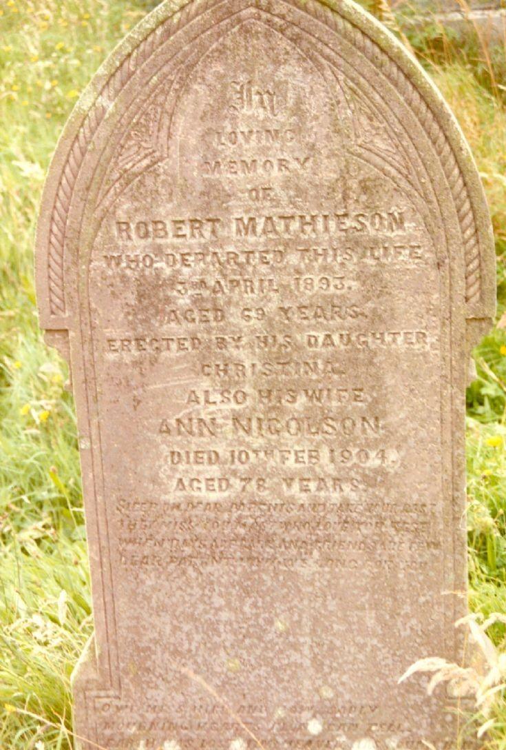 Robert and Ann Mathieson's gravestone