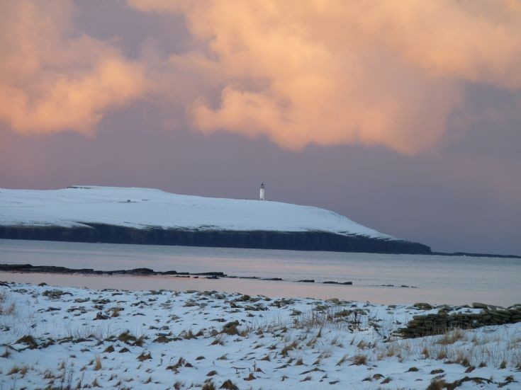 Noup Head Lighthouse in the snow