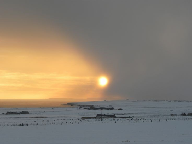 Snow shower coming over Deerness