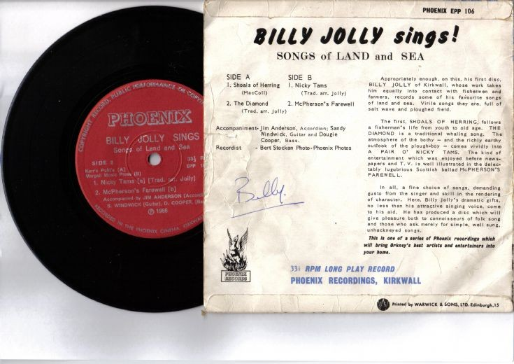 Signed reverse of Billy Jolly Sings