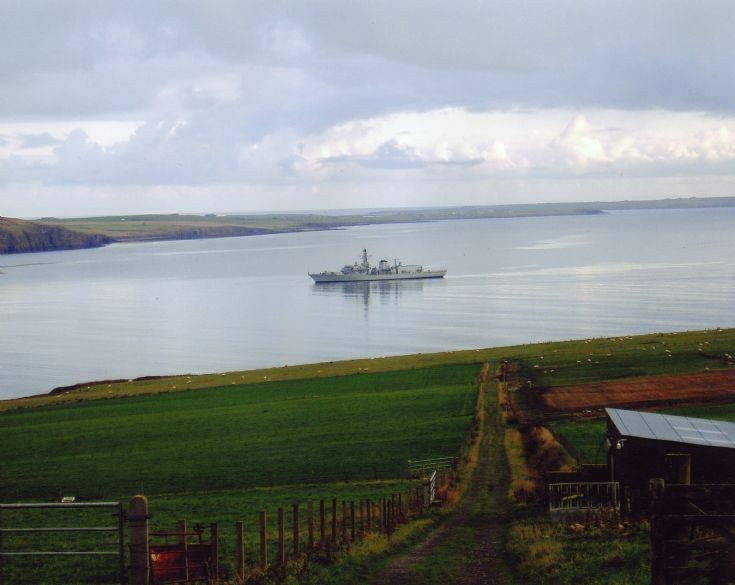 HMS Norfolk moored in Scapa Flow