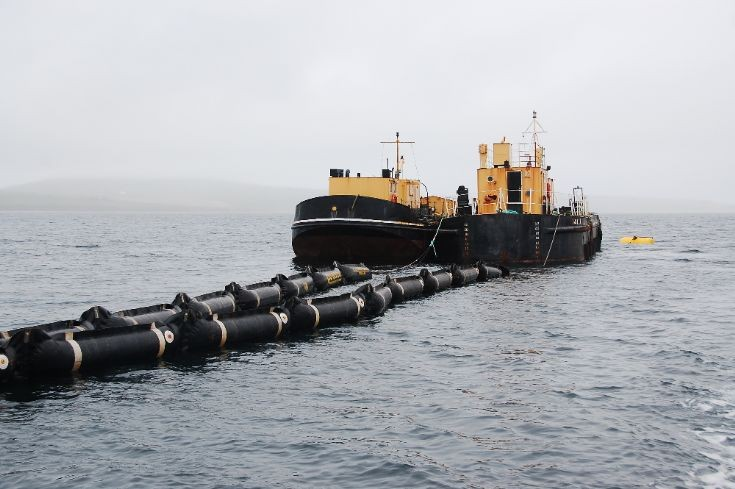 Oil removal barges at Royal Oak