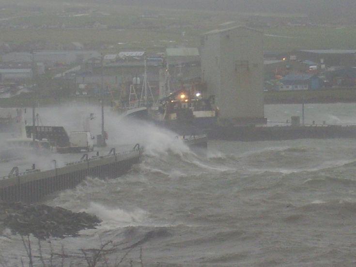 White van man's wash on Kirkwall pier.