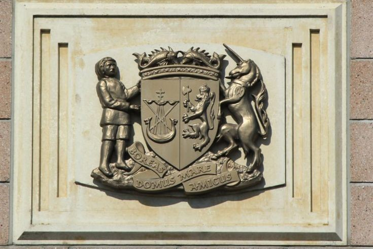 OIC arms on Orkney Library