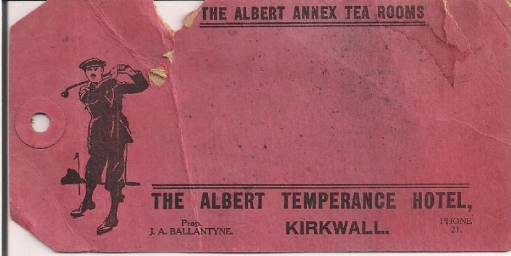 Luggage label from the Albert Temperance Hotel