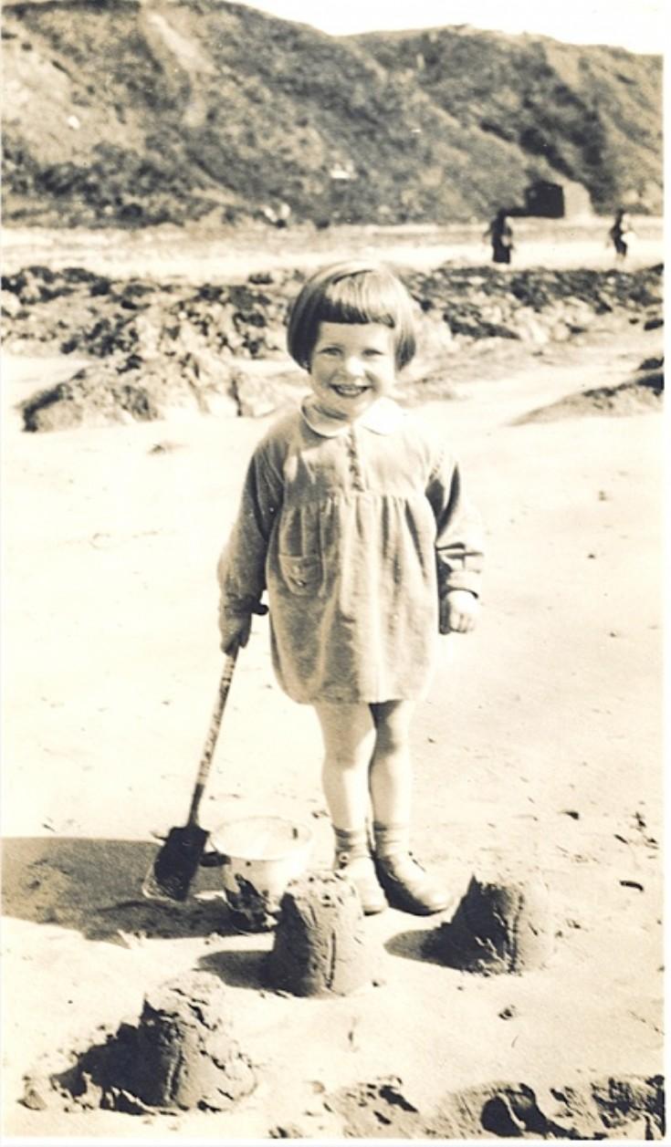 Sheila Stuart on Scapa beach