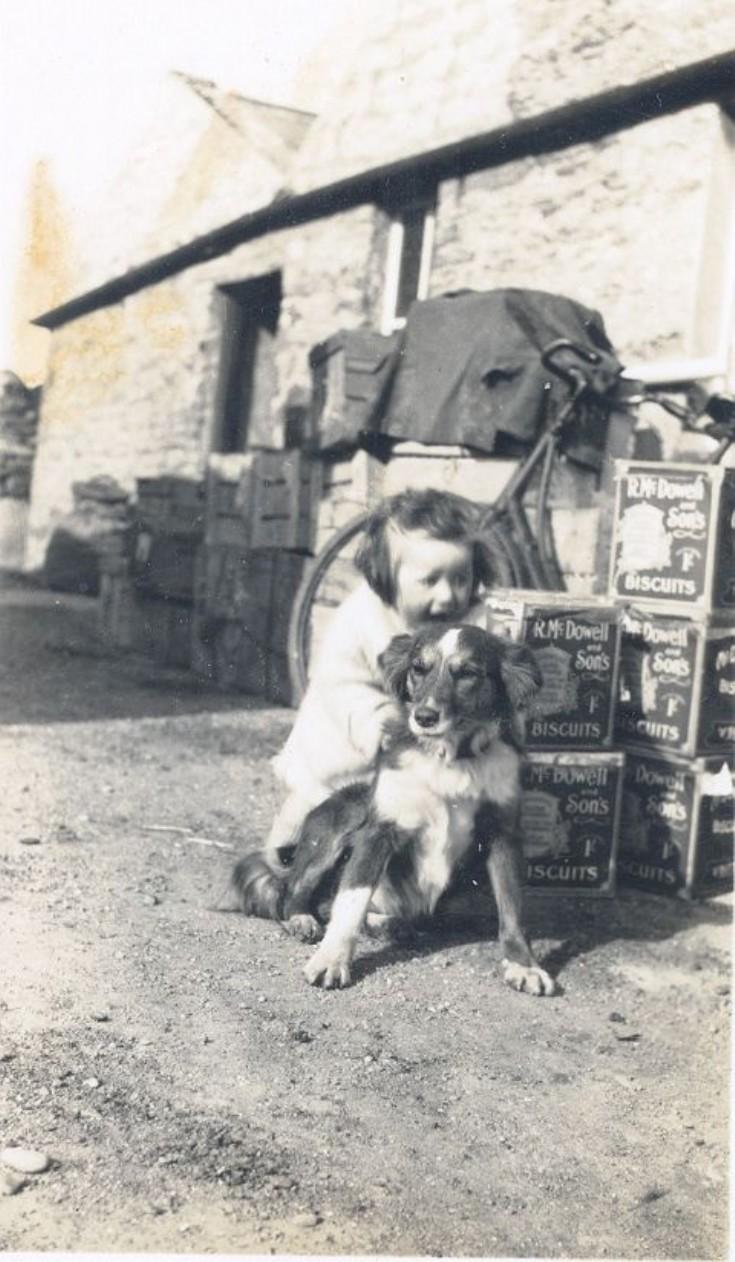 Sheila Braggins (nee Stuart) with dog Lassie